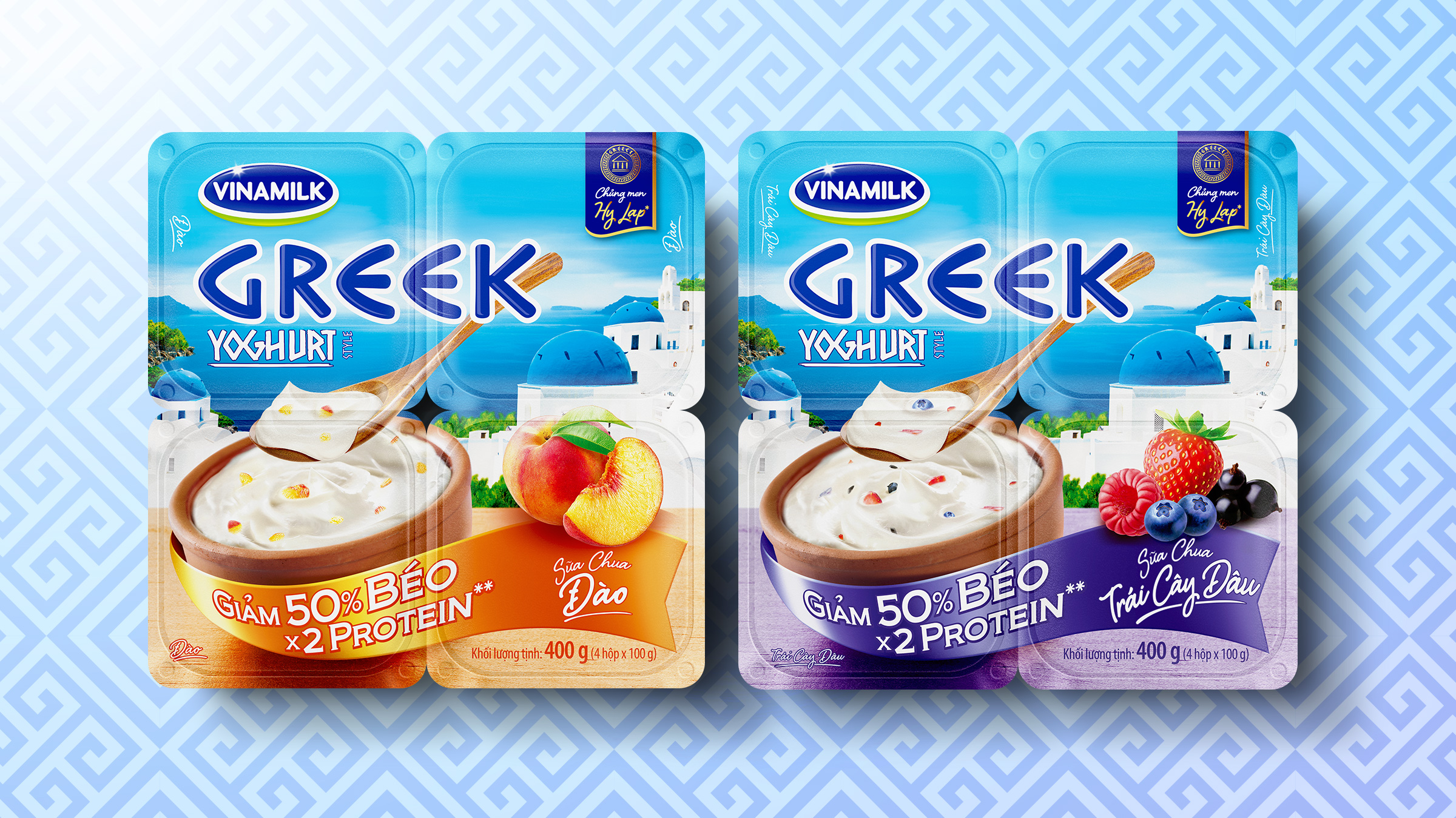 Vinamilk Greek yogurt packaging design